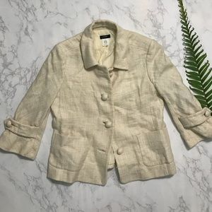 J. Crew Waverly linen button up cream jacket 4